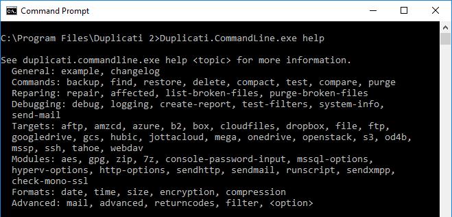 Using Duplicati from the Command Line - Duplicati 2 User's Manual