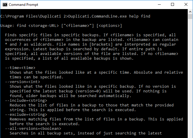 Using Duplicati From The Command Line Duplicati 2 Users Manual